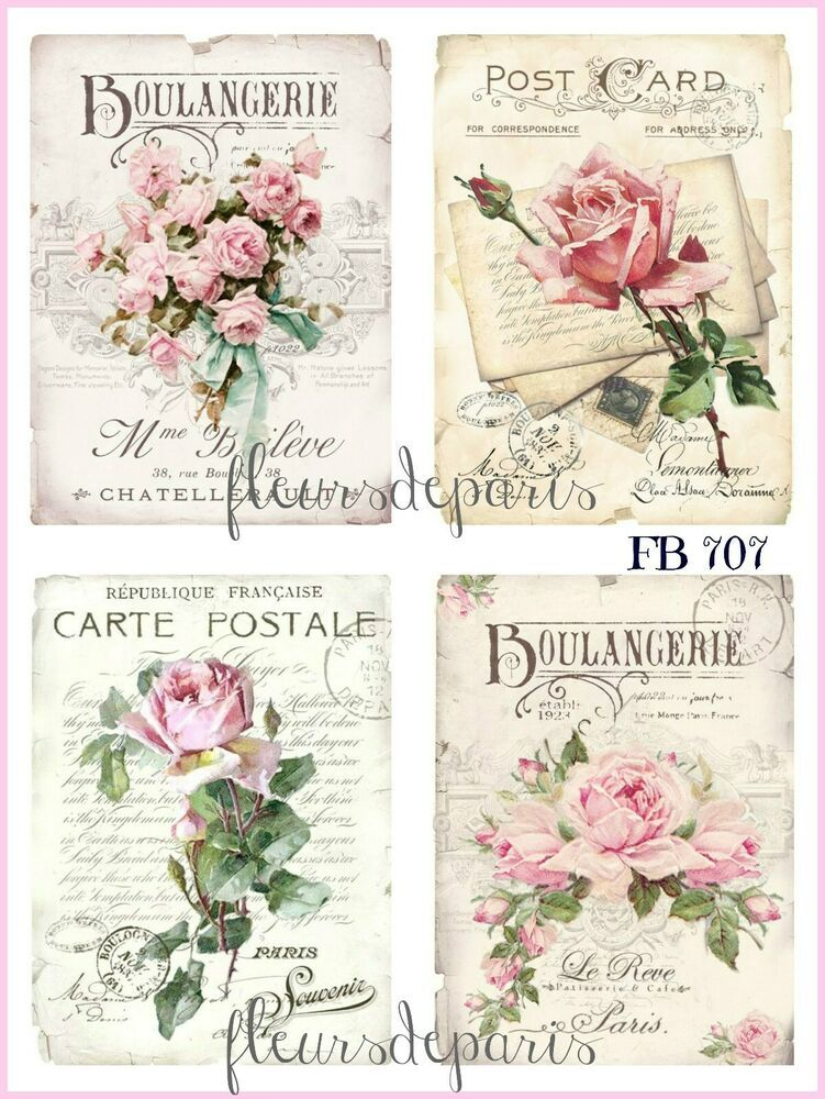 Details About Shabby Chic Vintage French Pink Roses 4 Prints On