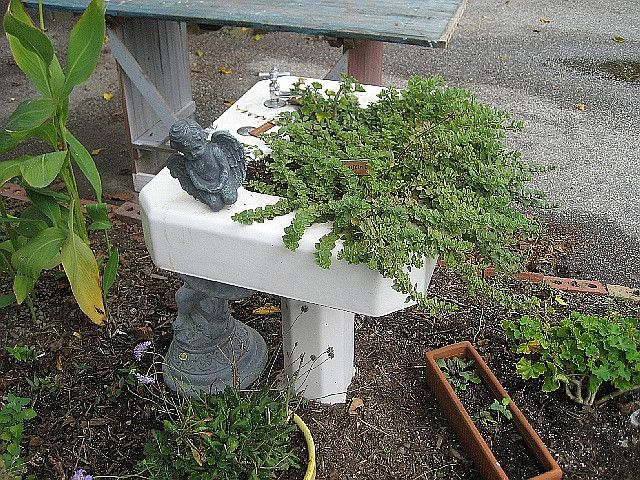 Recycled Sink Pedestal Becomes Garden Planter