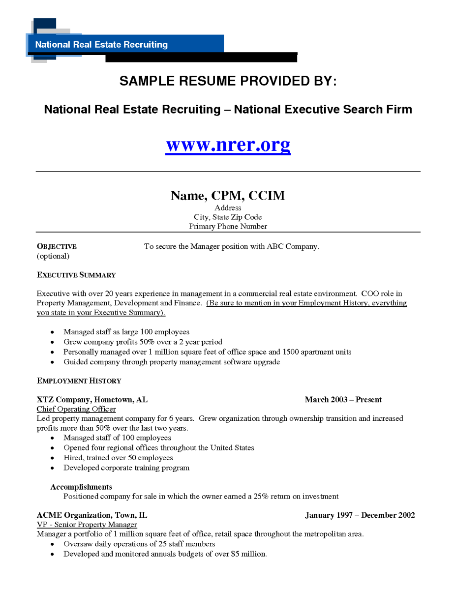 12 Objective Property Manager Riez Sample Resumes