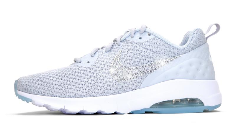2018 New 2018 glitter kicks Nike Air Max Motion LW Crystallized Swarovski  Swoosh Gray White 01b7818295