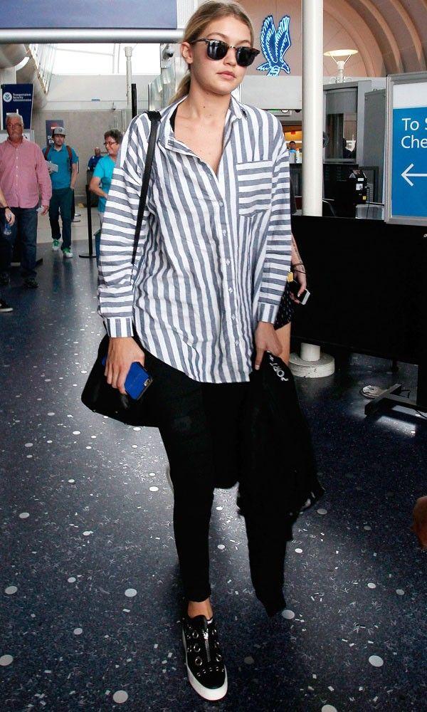 63bba1ba400 Gigi Hadid Styled Up A Striped Boyfriend-Fit Shirt