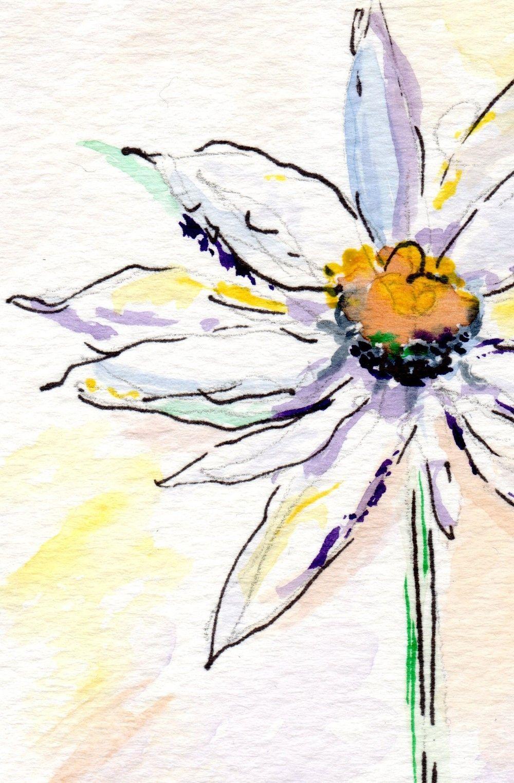 Watercolor Daisy Tattoo: Art Print From Watercolor: One Daisy Flower. $10.00, Via