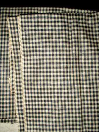Early 1900 Blue Check Factory Homespun Fabric Yardage