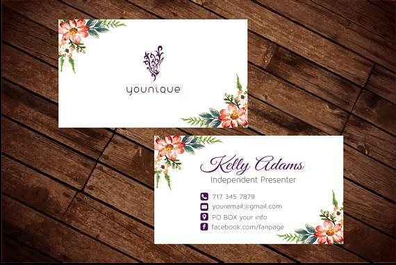 Floral Younique Business Cards Elegant Younique Personalized Business Card Younique Custom Younique Business Cards Business Cards Elegant Younique Business