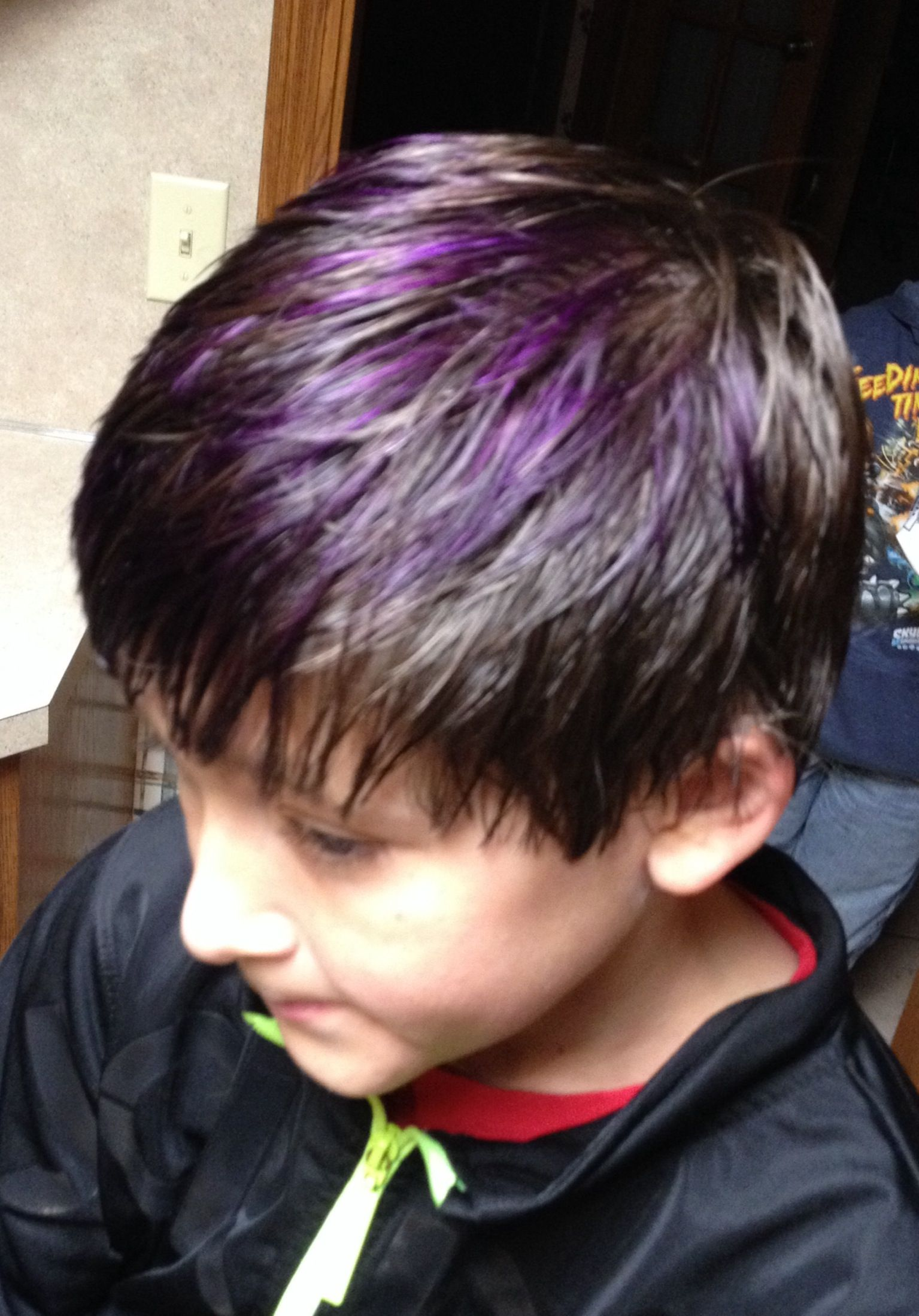 Purple Highlights Blue Hair Highlights Boy Hairstyles Boys Blue Hair