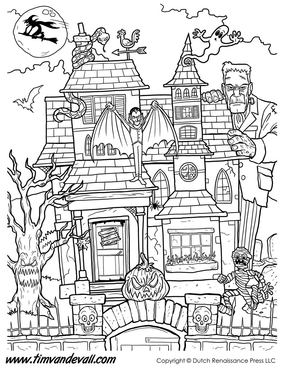 Haunted House Coloring Page Printable Jpg 927 1 200 Pixels Halloween Coloring Book Halloween Coloring Pages Printable Halloween Coloring Pages