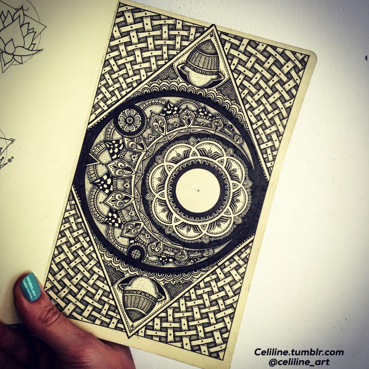MOON IN A MOLESKINE - zentangle, Doodle, Artwork, drawing