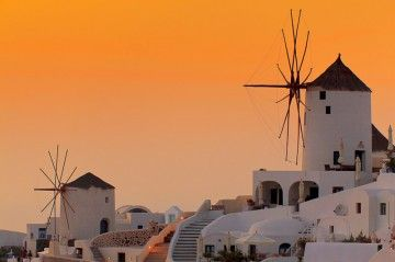 Oia windmills, Santorini, Greece