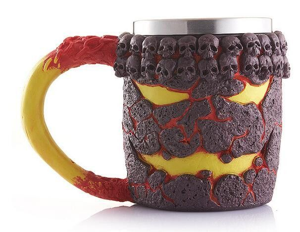 New Funny Coffee Cup Cool 3D Skull Wolf Mug Resin Stainless Steel Pirate Knight Drinking Grip Creative Drinkware 17