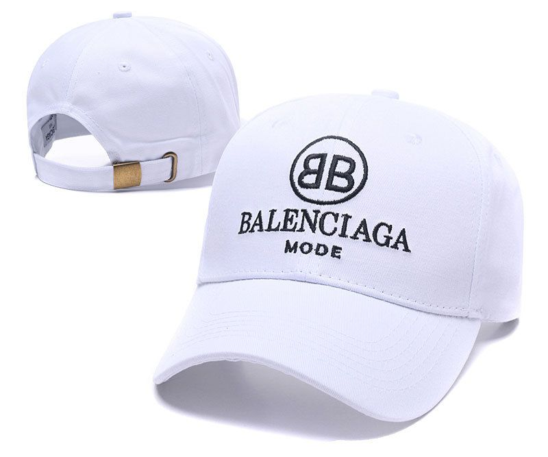 9c11c271946 Men s   Women s Balenciaga Classic With BB Mode Logo Curved Dad Cap - White  (Copy Ori)