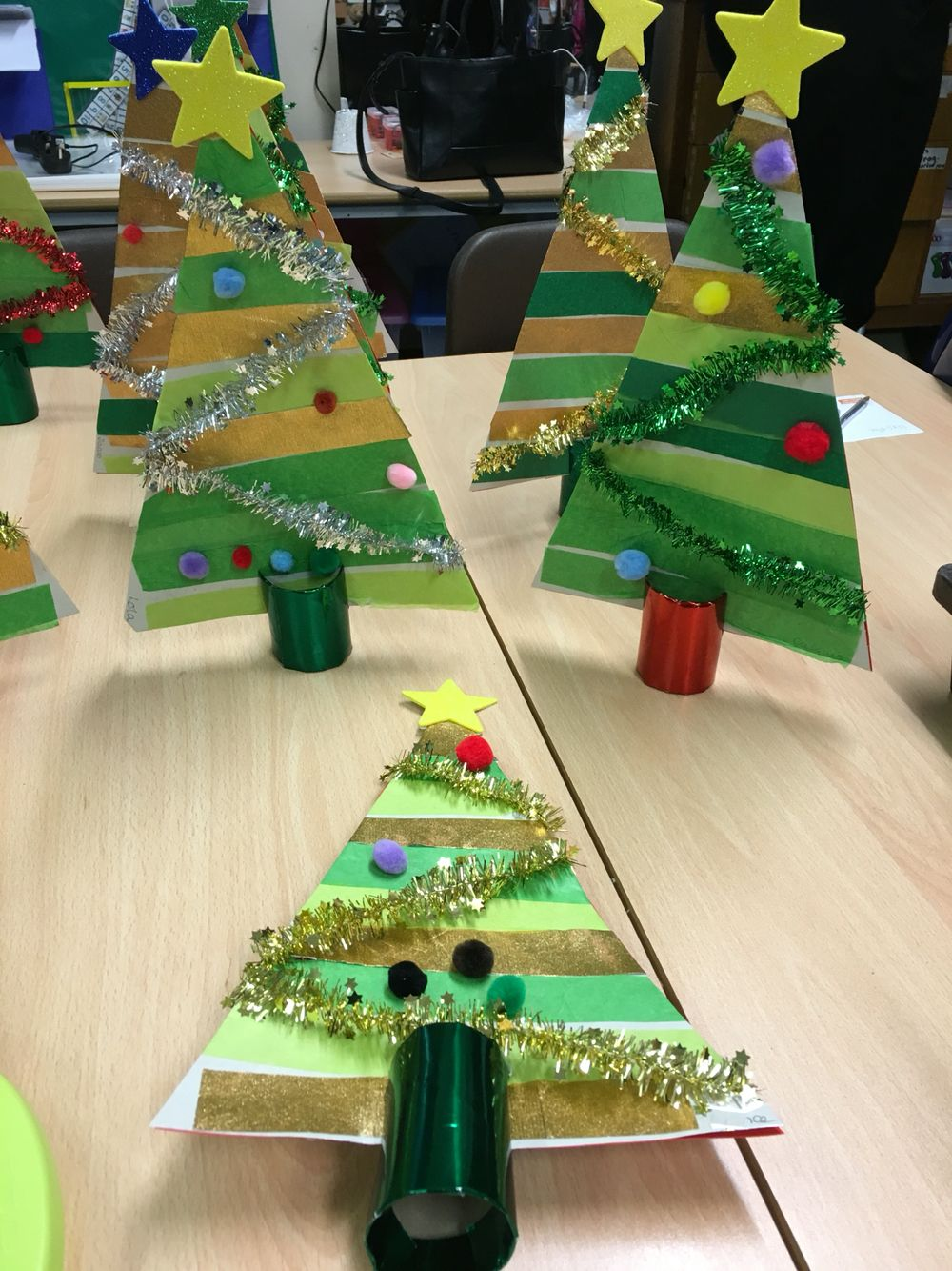 3d Christmas Cards Made By My Reception Class Christmas Tree Crafts Diy Christmas Cards Christmas Activities