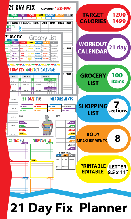 Fitness Logging System Tracking Sheet Beach Body  Calorie