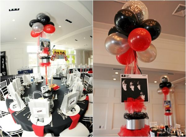 Beatles Music Theme Centerpieces Bar Mitzvah Red Black Silver