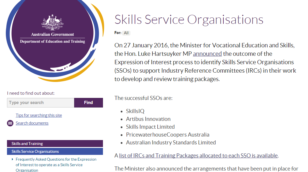 Latest VET News Update Skills Service Organisations (SSOs
