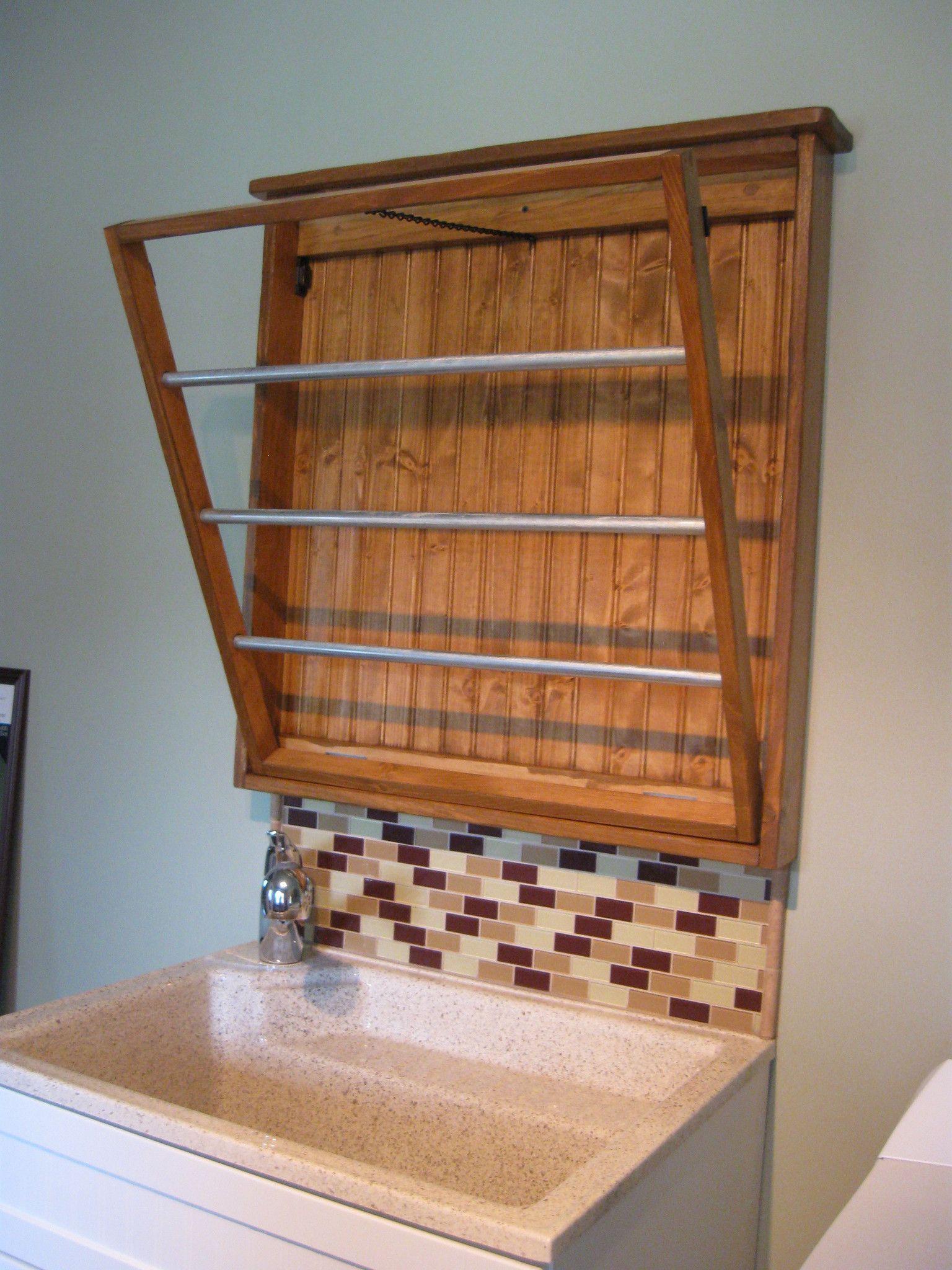 Custom laundry drying rack solid wood bathroom pinterest