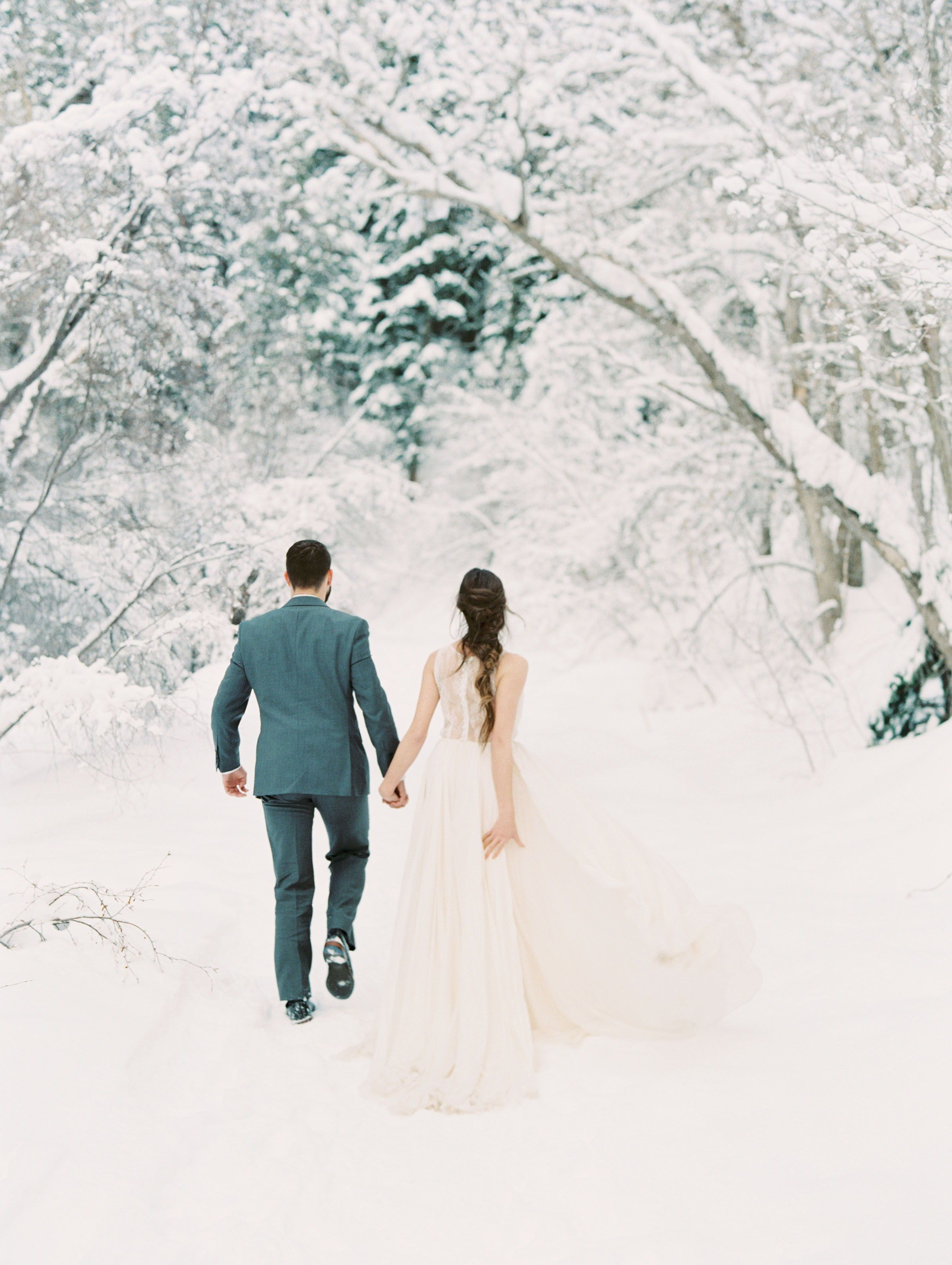 Winter Wedding Romantic Snow Trees Forest Beautiful Attire