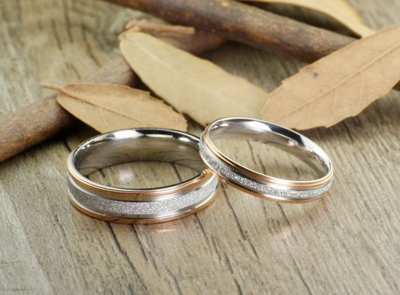 Handmade Rose Gold Matching Wedding Bands Couple Rings Set