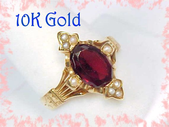 10K Gold  Victorian 1880s Garnet & Seed Pearl by FindMeTreasures, $389.00
