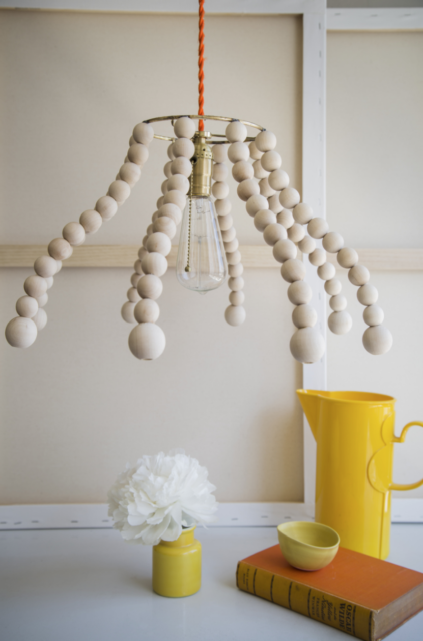wooden bead lamp shade | Beaded lamps, Beaded lampshade, Diy