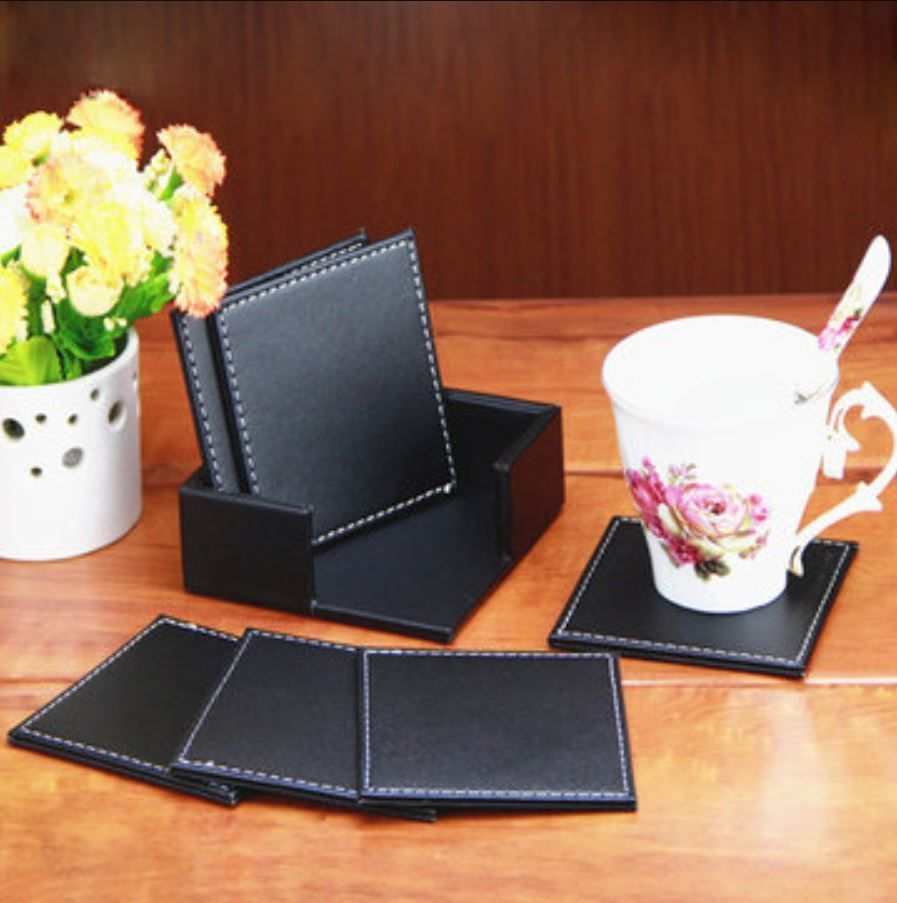 6pcs Double Deck Leather Coasters Placemat Black Cup Home Kitchen Mat Holder Leather Coasters Placemats Cup Mat