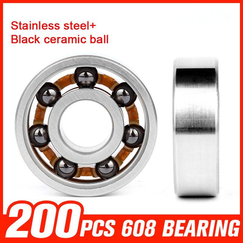 200pcs 608 Bearings Black Ceramic Ball 608 Stainless Steel Bearing For Matel Hand Spinner Roating Roller Hard Skateboard Hardware Hardware Hardware Accessories