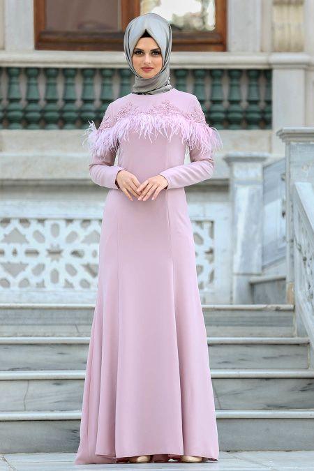 Puane Puane Tuylu Gul Kurusu Tesettur Abiye Elbise 8179gk Elbise The Dress Abaya Tarzi