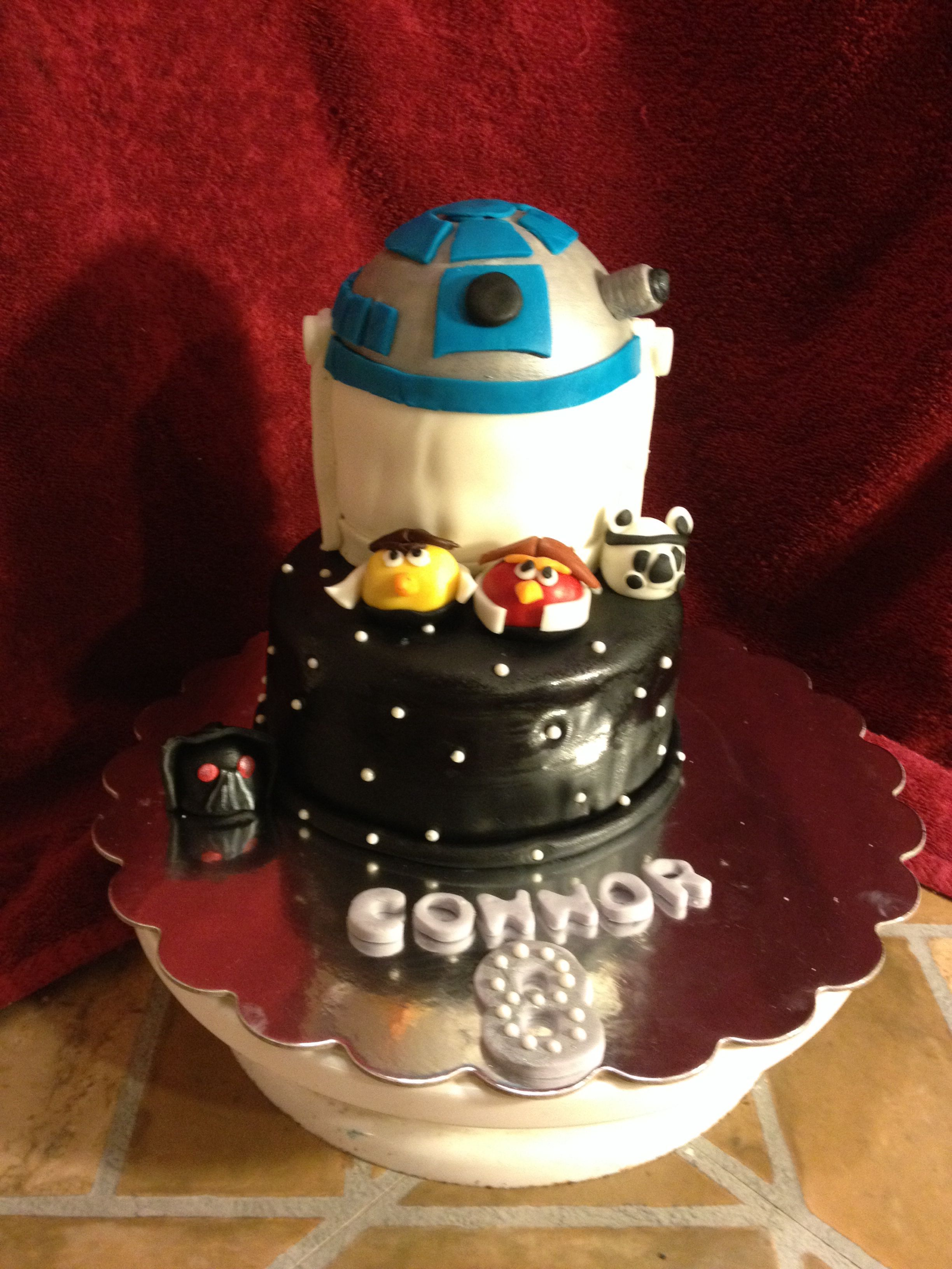 Star Wars Angry Birds Cake With All Handmade Toppers