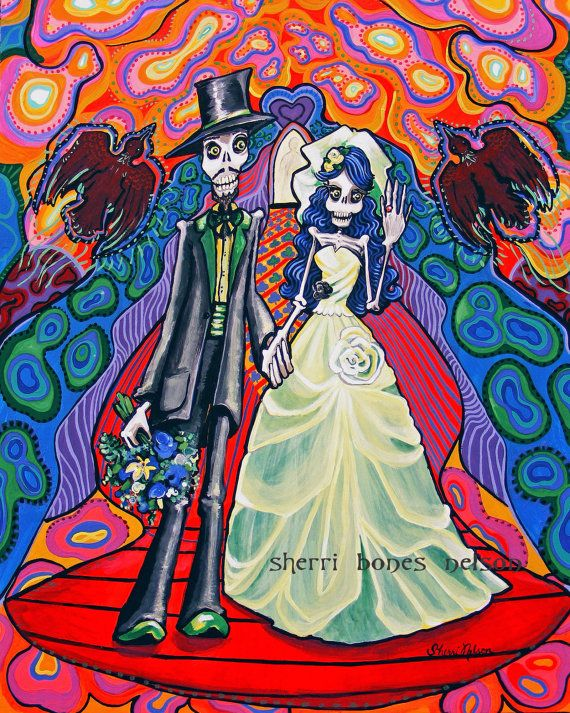 Items Similar To Large Psychedelic Day Of The Dead Wedding Picture Skeleton Groom Bride Rockabilly Gothic Getting Married Wall Art Poster On Etsy