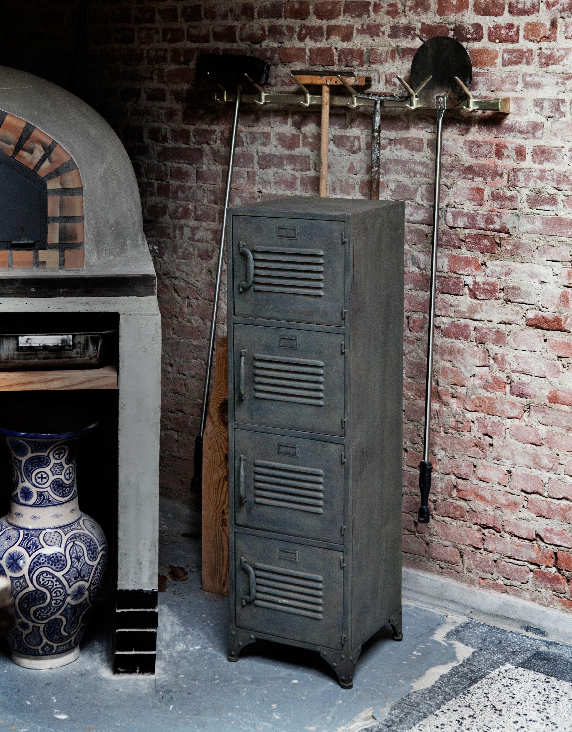 industriele kast metalen wandkast brickwall Tip combineer