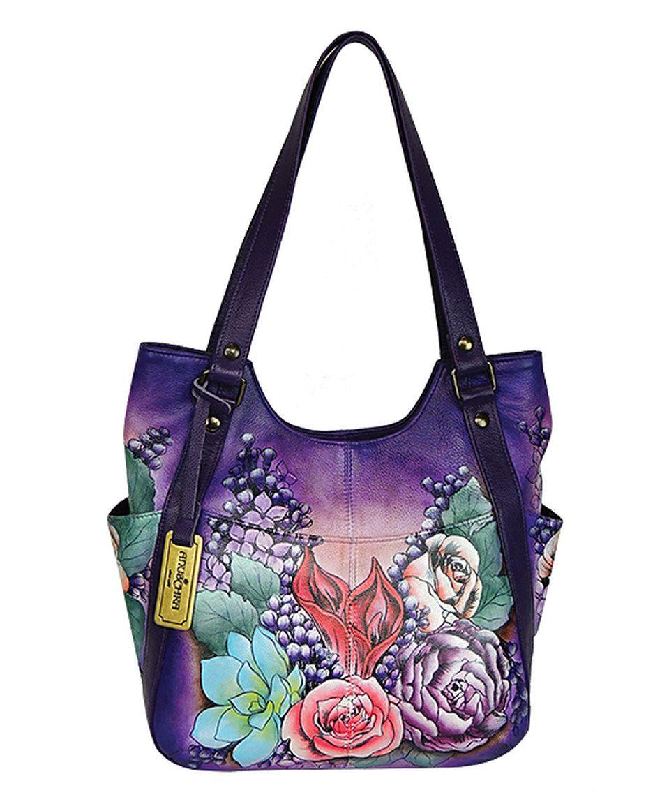 4cbd8f8abd Love this Anuschka Handbags Lush Lilac Hand-Painted Leather Hobo by Anuschka  Handbags on  zulily!  zulilyfinds