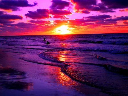 Purple Ocean Sunset Beach Sunset Wallpaper Sunset Pictures Sunset Wallpaper