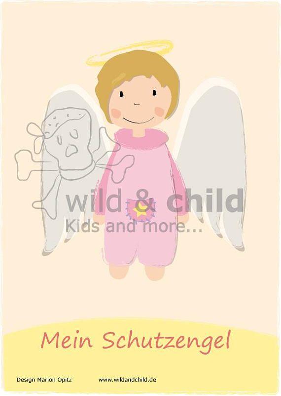 Schutzengel Engel Poster Print Wand Kunst niedlich Kids Decor ...