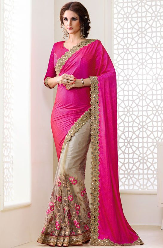 9667d5953bc258 Beige and rani pink saree with blouse. Fabric - Net and silk georgette. Work  - Embroidery and gotta work on skirt, pearls and heavy patch border with  mirror ...