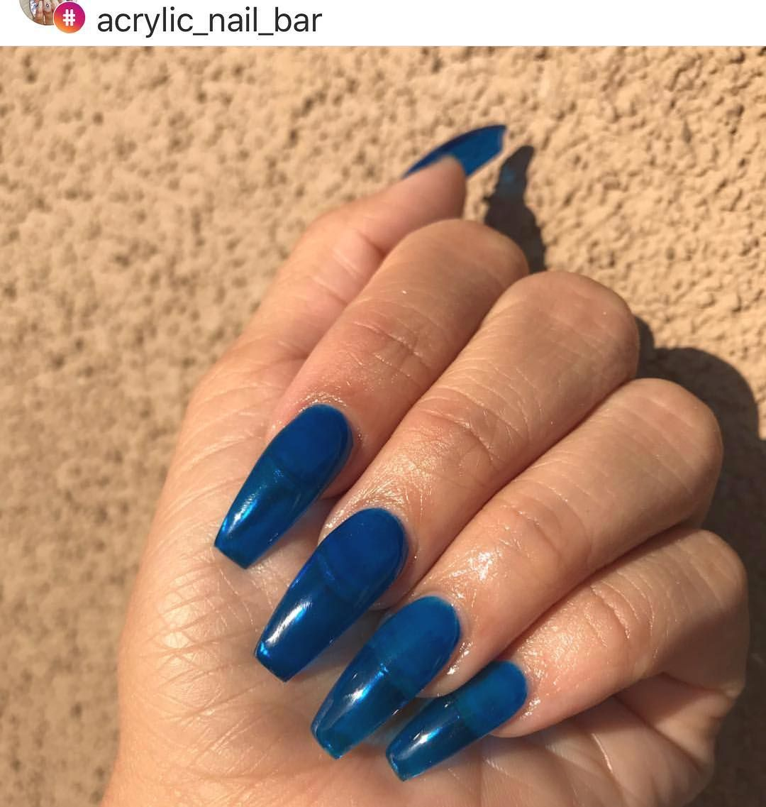 Jelly Nails Using Our Gel Tint Top Coat Royal Blue Done By Acrylic Nail Bar How To Recreate Apply Clear Acryli Jelly Nails Clear Acrylic Nails Blue Nails
