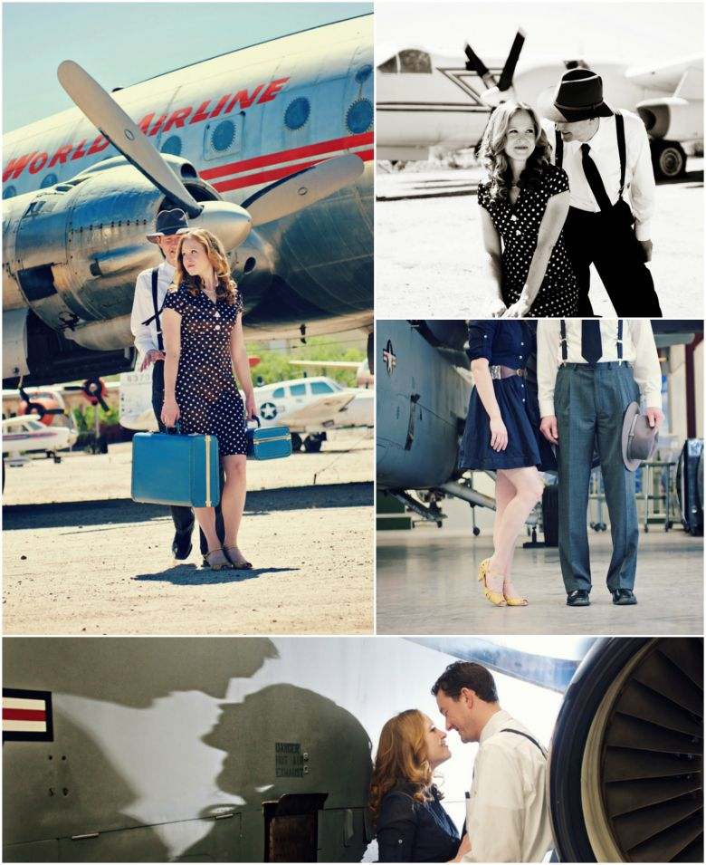 Have your engagement shoot at an Air Museum like this couple did in Tucson's Pima Air & Space Museum!