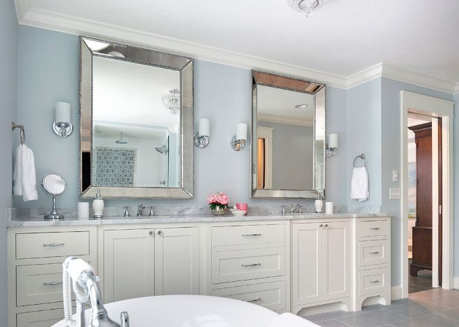 This gray bathroom wall paint color is pale smoke by for Small bathroom no natural light