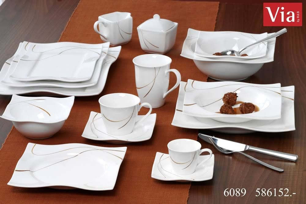 Modernes Geschirr Set geschirr set via by r b scala tafelservice 12tlg