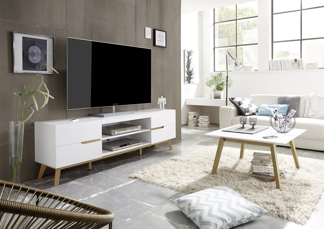 Modern Tv Stand Perfect Match Of White And Oak Great