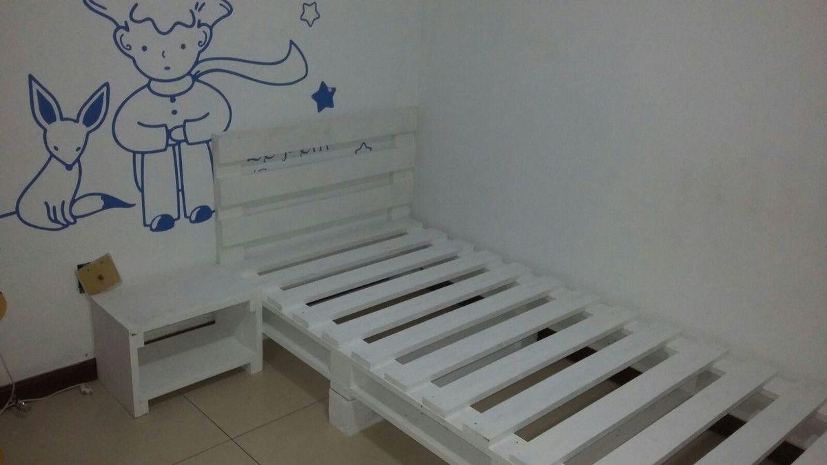 Cama De Solteiro Mesa De Cabeceira E Banco Escada Para Crian A  ~ Moveis Quarto Casal Modernos E Paletes Decoração Quarto
