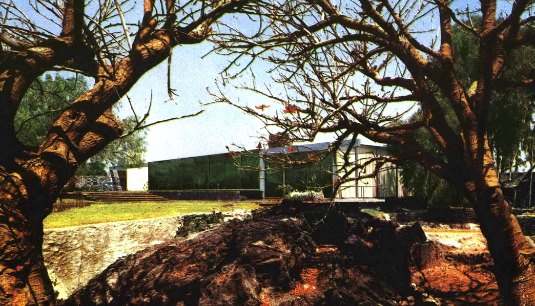 Vista desde el jardin, Casa Otero, calle de la lava 236, Jardines del Pedregal, México DF 1954  Arq. Manuel González Rul -   View from the garden, Casa Otero, calle de la lava 236, Pedregal, Mexico City 1954