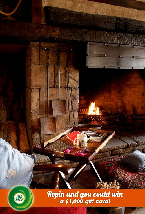 Glowing wood embers in a crackling #fireplace warms the #autumn air. Visit link for sweepstakes information: https://www.airwick.us/repin_to_win.php
