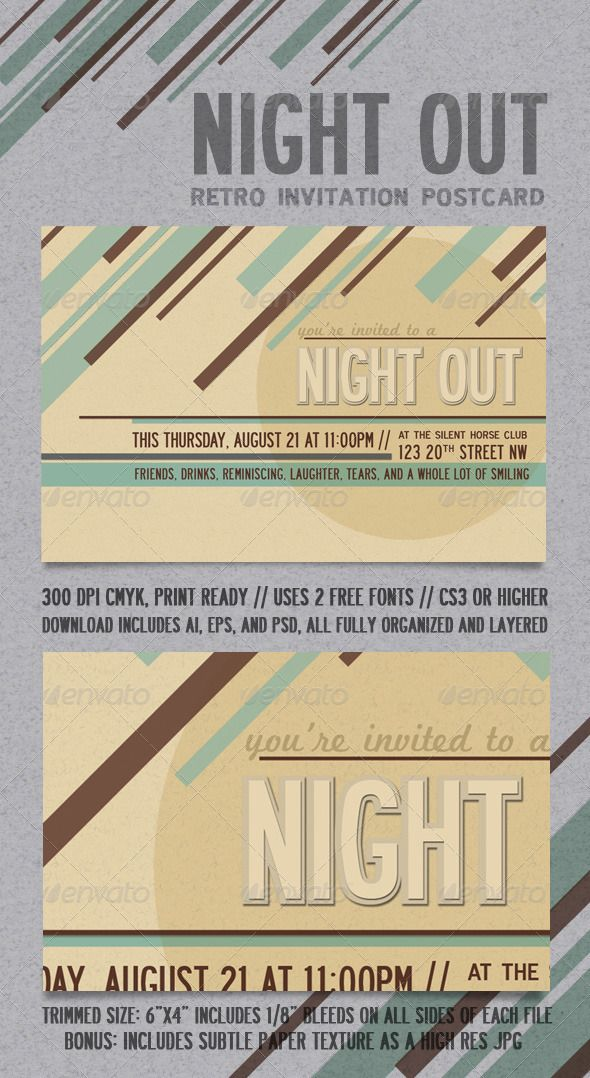 Night Out Retro Invitation Postcard | Template, Card templates and ...