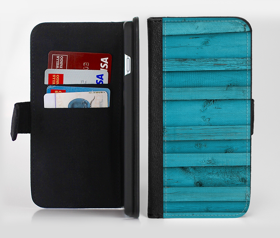 The Signature Blue Wood Planks Ink-Fuzed Leather Folding Wallet Credit-Card Case for the Apple iPhone 6/6s, 6/6s Plus, 5/5s and 5c from DesignSkinz