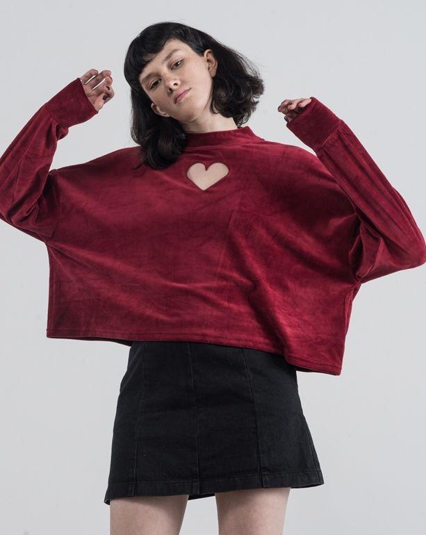 dd34b4bfac19e Lazy Oaf Maroon Velvet Heart Hole Long Sleeve T-shirt - View all - New In -  Womens