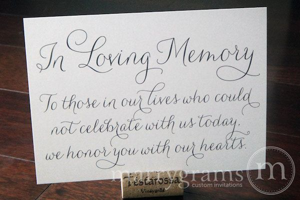 Honoring Lost Loved Ones Quotes : 10 Ways to Honor Deceased Loved Ones at Your Wedding See more best ...
