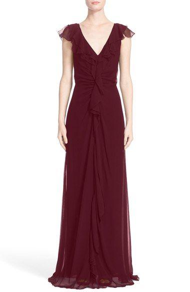 Carolina Herrera Ruffle Detail Silk Chiffon V-Neck Gown available at #Nordstrom