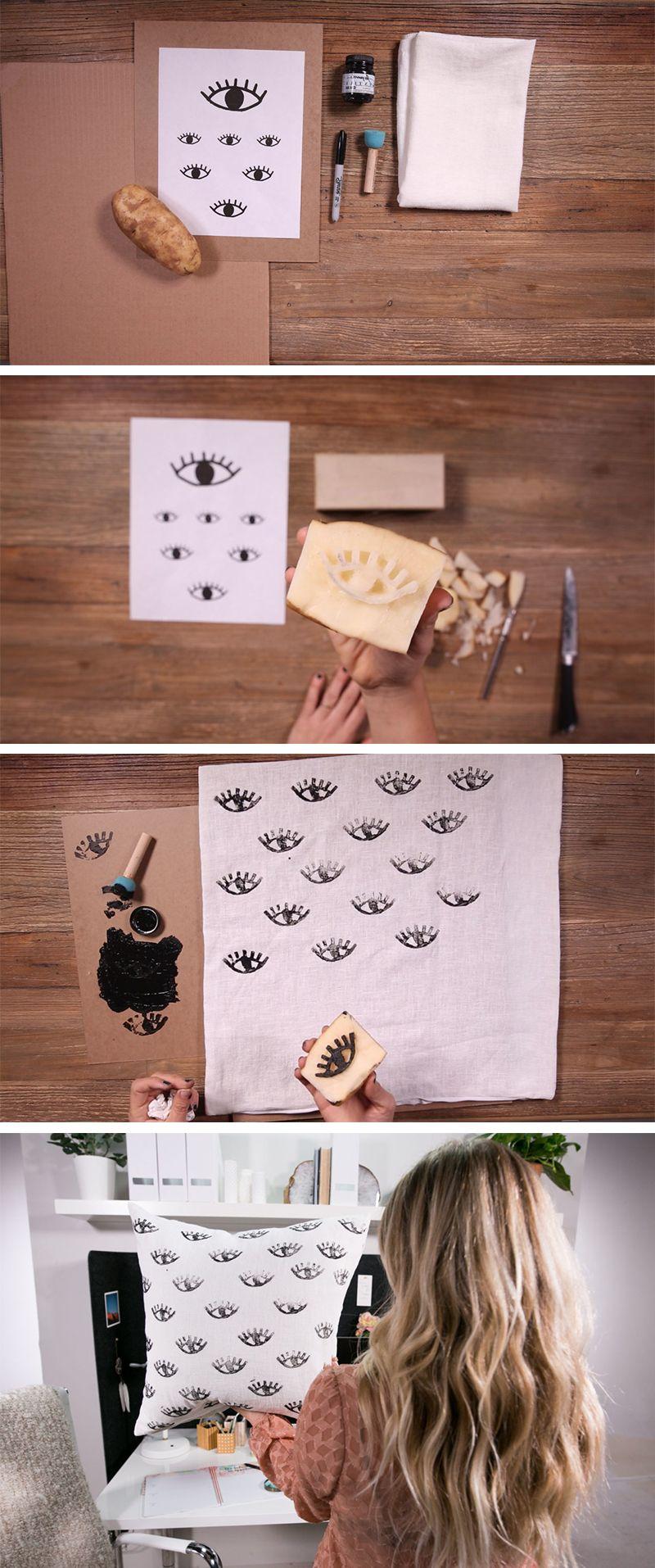 diy potato stamped eye print pillow mr kate diy pinterest stempel diy inspiration und. Black Bedroom Furniture Sets. Home Design Ideas