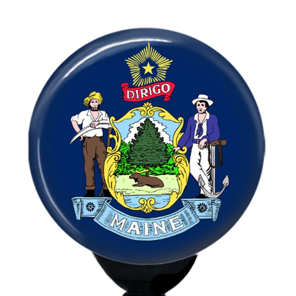 Custom state maine flag badge reel retractable id tag name