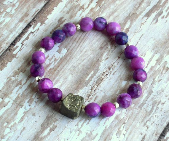 Purple Agate Faceted Silver Pyrite Rough Cut by Cheshujewelry, $24.00
