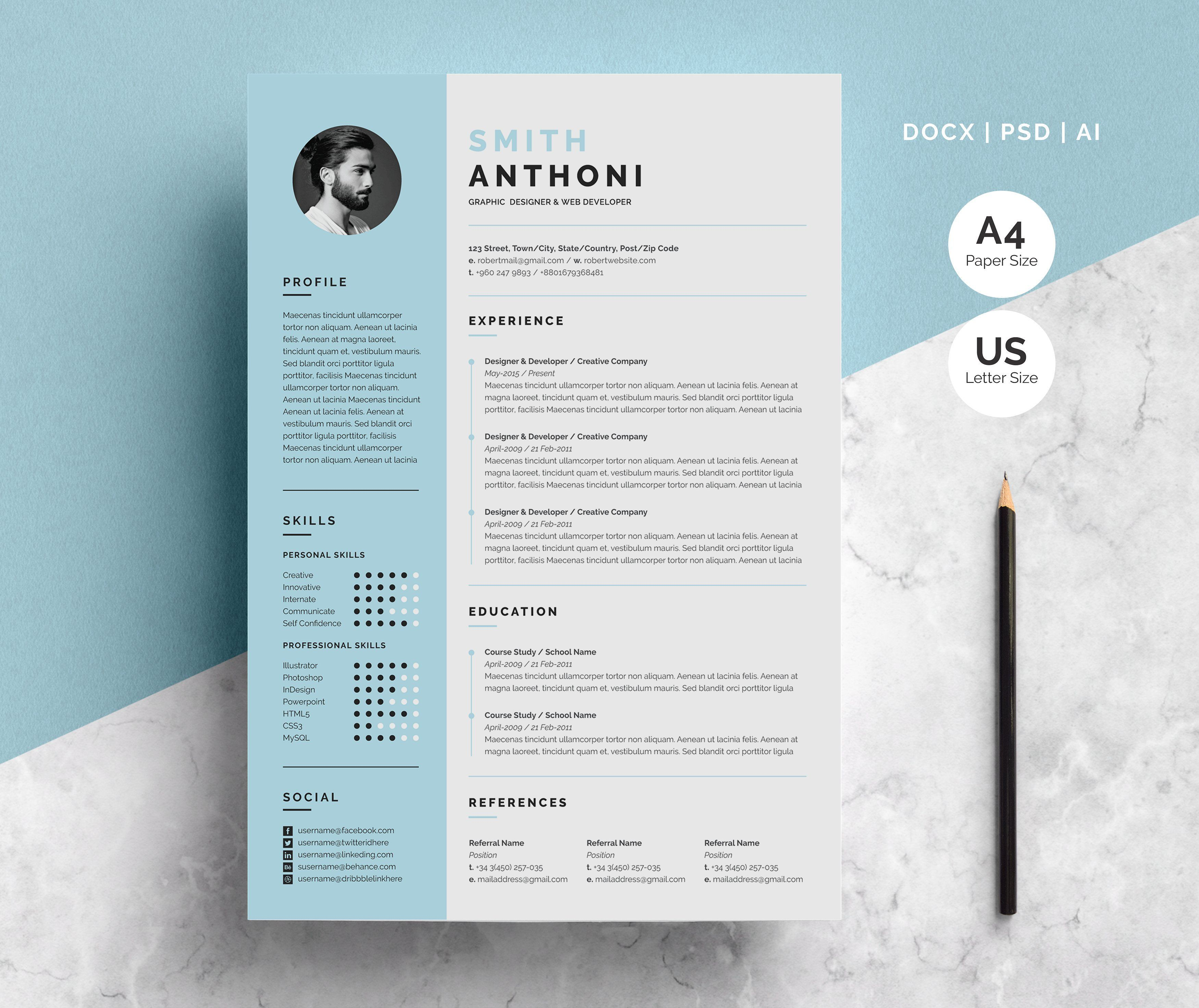 Clean Resume 2 Pages One Page Resume Template Clean Resume Resume Template Word
